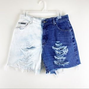 Vintage Lee Distressed Two Tone High Rise Shorts